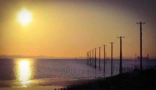 夕陽の海中電柱…横須賀から千葉へ